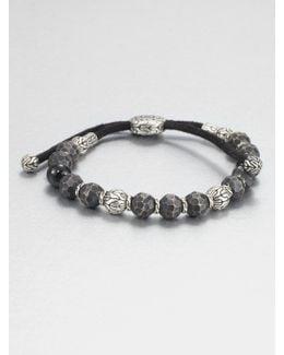 Black Tourmaline, Sterling Silver And Black Bronze Bead Bracelet