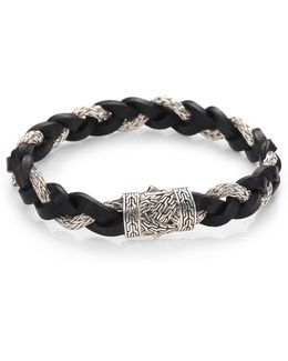 Men's Classic Chain Braided Leather Cord Bracelet