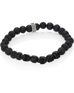 Sterling Silver & 8mm Lava Rock Bead Bracelet