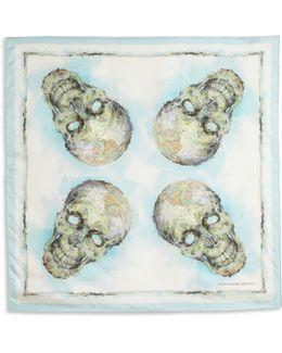 Skull Map Silk Scarf