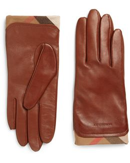 Housecheck-trim Leather Gloves