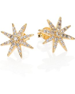 Compass Rose Pave White Topaz Stud Earrings