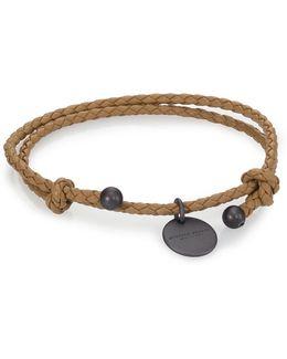 Intrecciato Leather Beaded Thin Wrap Bracelet