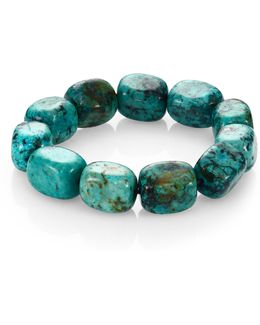 Teal Agate Square Beaded Stretch Bracelet
