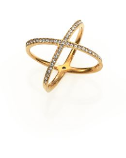 Brilliance Statement Pave X Ring/goldtone