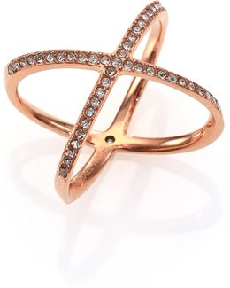 Brilliance Statement Pave X Ring/rose Goldtone