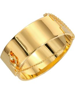 Safety Chain Cuff Bracelet/goldtone