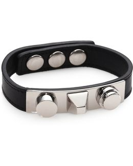 Classic 3 Clous Studded Leather Bracelet/silvertone