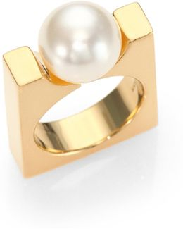Darcey Faux Pearl Square Ring