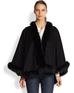 Petite Fox Fur & Cashmere Cape