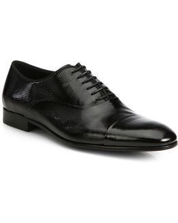 Textured Patent Leather Lace-up Oxfords