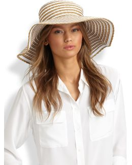 Striped Grosgrain Ribbon Floppy Hat