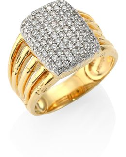 Bamboo Diamond & 18k Yellow Gold Five-row Ring