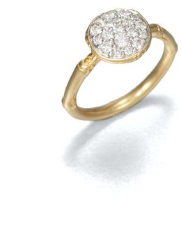 Bamboo Diamond & 18k Yellow Gold Small Round Ring