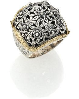 Classics 18k Yellow Gold & Sterling Silver Floral Filigree Ring