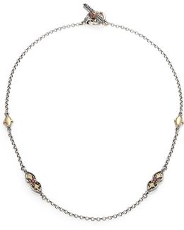 Artemis Rhodolite, 18k Yellow Gold & Sterling Silver Ornate Necklace