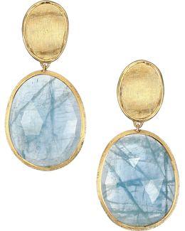 Lunaria Aquamarine & 18k Yellow Gold Small Drop Earrings