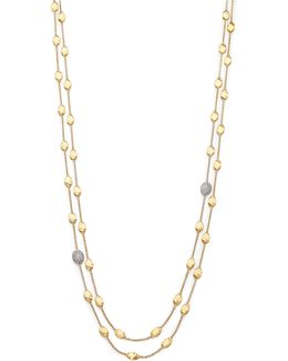 Siviglia Diamond & 18k Yellow Gold Double-wrap Station Necklace