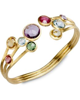 Jaipur Semi-precious Multi-stone & 18k Yellow Gold Three-row Cuff Bracelet