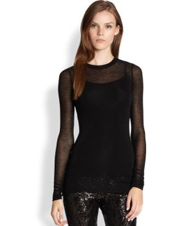 Agda Sheer Long-sleeve Tee