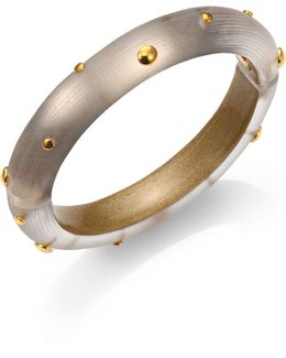 Studded Lucite Bangle Bracelet/gold