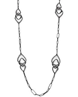 Miss Havisham Kinetic Gun Pave Crystal Three-link Station Necklace