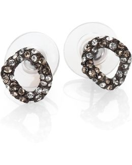 Elements Jardin De Papillon Crystal Link Stud Earrings/gunmetal