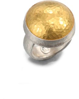 Amulet 24k Yellow Gold & Sterling Silver Dome Ring