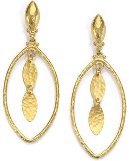 24k Yellow Gold-layered Marquis Drop Earrings