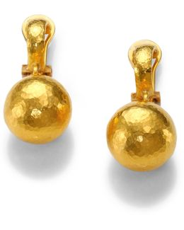 24k Yellow Gold Ball Drop Earrings