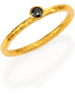 Delicacies Black Diamond & 24k Yellow Gold Stackable Ring