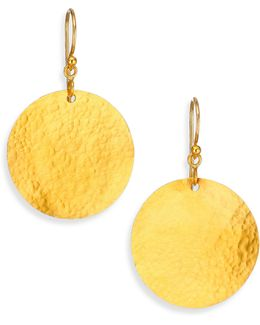 Lush 24k Yellow Gold Dangling Flake Drop Earrings