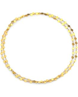 Lush 24k Yellow Gold Long Flake Necklace