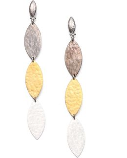 Willow 24k Yellow Gold & Sterling Silver Leaf Triple Drop Earrings