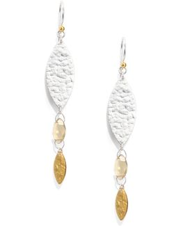 Willow Champagne Quartz, 24k Yellow Gold & Sterling Silver Bloom Drop Earrings