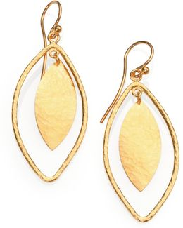 Willow 24k Yellow Gold Leaf Drop Earrings