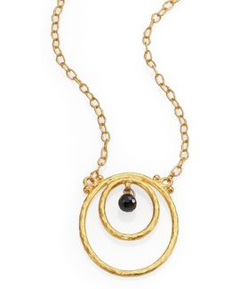 Hoopla Black Diamond & 24k Yellow Gold Pendant Necklace