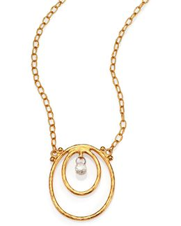 Hoopla Diamond & 24k Yellow Gold Pendant Necklace