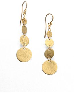 Lush 24k Yellow Gold Flake Drop Earrings