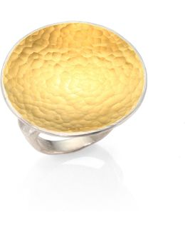 Hourglass 24k Yellow Gold & Sterling Silver Cocktail Ring
