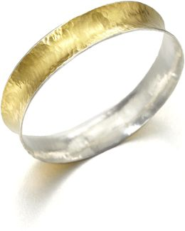 Hourglass 24k Yellow Gold & Sterling Silver Bangle Bracelet