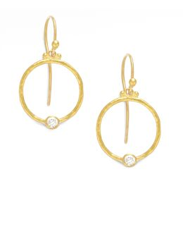 24k Gold & Diamond Hoop Earrings