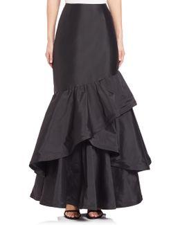 Long Ruffle Taffeta Skirt