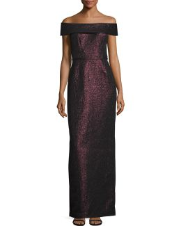 Metallic Jacquard Off-shoulder Gown