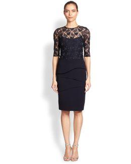 Lace Bodicethree Quarter Sleeve Sheath Dress
