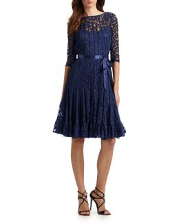 Pintucked Lace Cocktail Dress