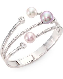 10mm-12mm Multicolor Round Pearl Bangle Bracelet
