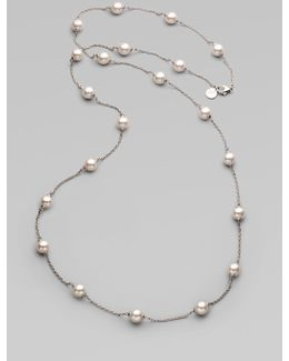 8mm White Round Pearl Illusion Necklace