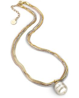 16mm White Baroque Pearl Multi-chain Pendant Necklace