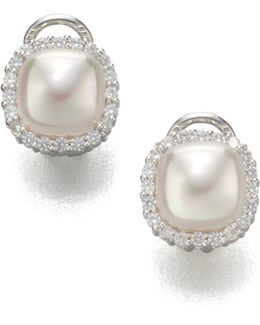 9mm White Mabe Pearl & Sterling Silver Halo Stud Earrings